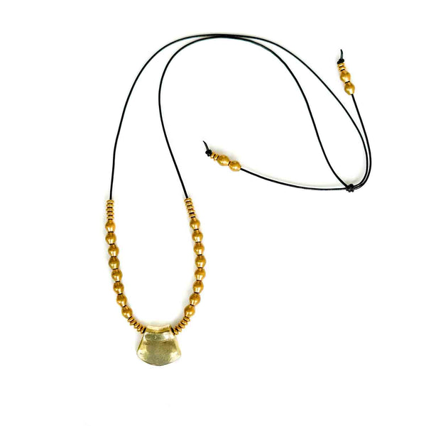 Kala - Leather & Brass Necklace