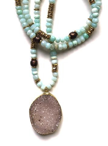 Peruvian Opal, Copper, Brass, and Druzy Necklace