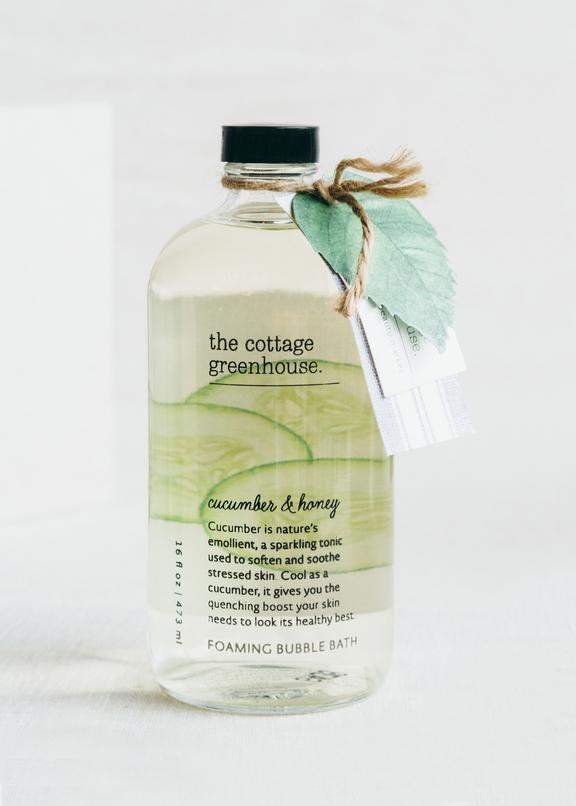 The Cottage Greenhouse Cucumber and Honey Foaming Bubble Bath - Wanderlustre