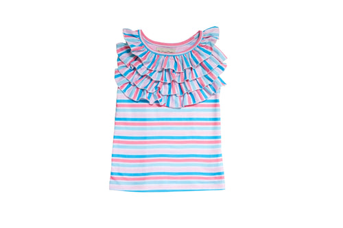 PLAYTIME FAVORITES- Courtyard Ruffle Top (Pastel Stripe) - Be Girl Clothing