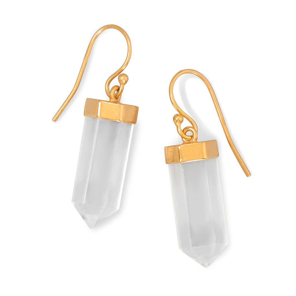 14 Karat Gold Clear Quartz Drop Earrings-Earrings-Here Comes The Bling™