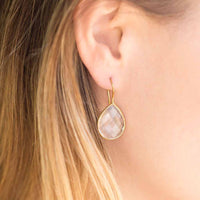 14 Karat Gold Clear Quartz Earrings-Earrings-Here Comes The Bling™