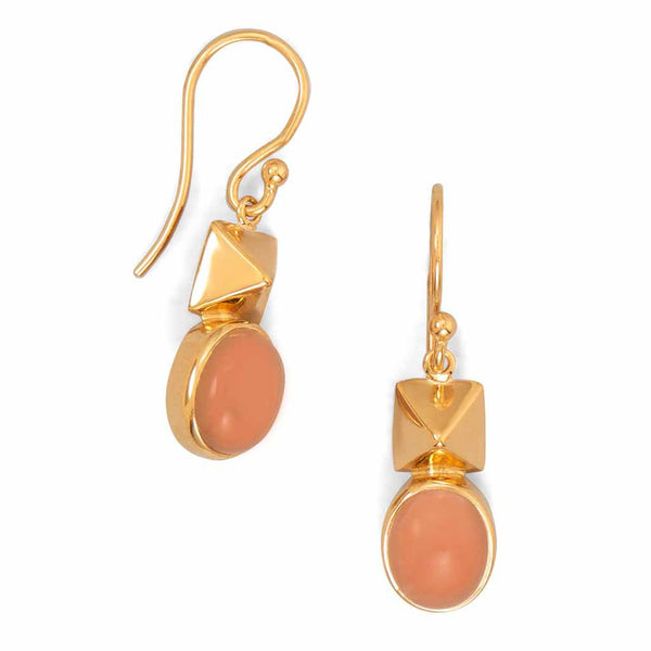 14 Karat Gold Peach Moonstone Drop Earrings-Earrings-Here Comes The Bling™
