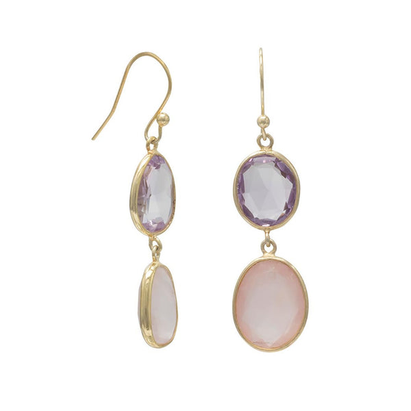 14 Karat Gold Quartz and Amethyst Drop Earrings-Earrings-Here Comes The Bling™
