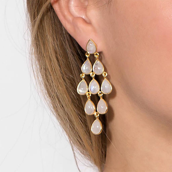 14 Karat Gold Rainbow Moonstone Chandelier Earrings-Earrings-Here Comes The Bling™