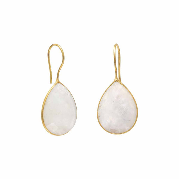 14 Karat Gold Rainbow Moonstone Earrings-Earrings-Here Comes The Bling™