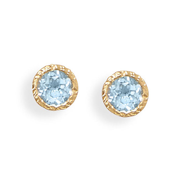 14 Karat Gold Silver Blue Topaz Stud Earrings-Earrings-Here Comes The Bling™