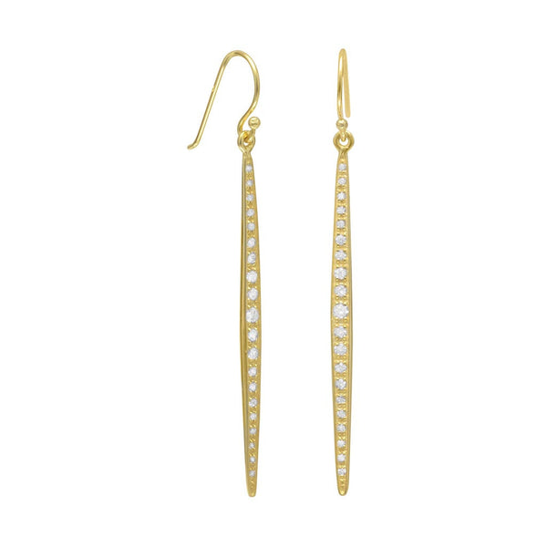 14 Karat Gold Stick French Wire Earrings-Earrings-Here Comes The Bling™
