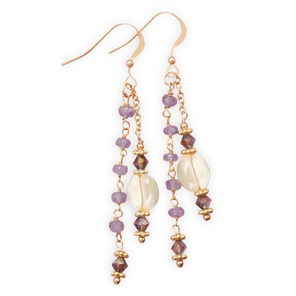 14 Karat Gold Tanzanite and Citrine Drop Earrings-Earrings-Here Comes The Bling™