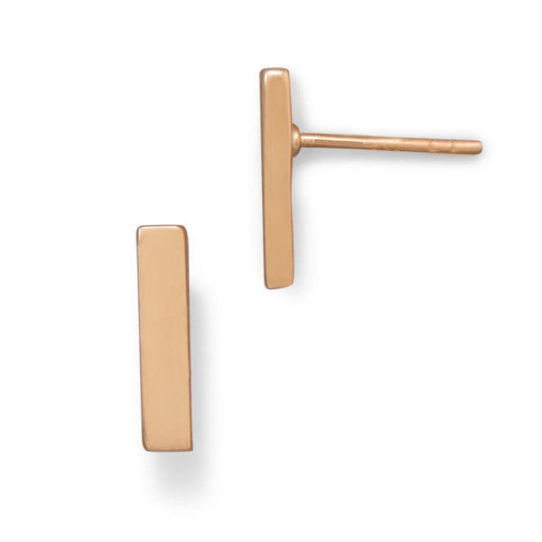 14 Karat Rose Gold Bar Stud Earrings-Earrings-Here Comes The Bling™