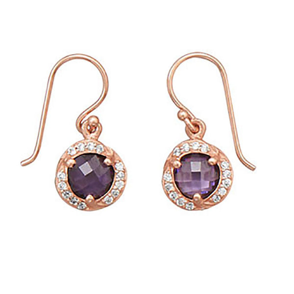 14 Karat Rose Gold Purple CZ Earrings-Earrings-Here Comes The Bling™