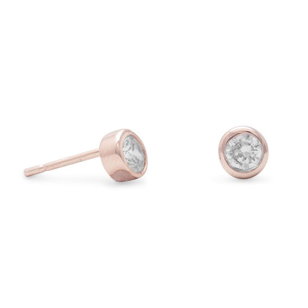 14 Karat Rose Gold Stud Earrings with Bezel Set CZs-Earrings-Here Comes The Bling™