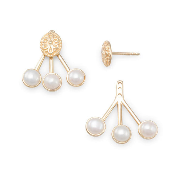14K Gold Pearl Front Back Earrings-Earrings-Here Comes The Bling™