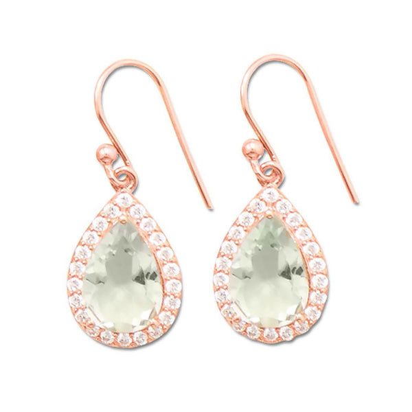 14K Rose Gold Green Amethyst Earrings-Earrings-Here Comes The Bling™