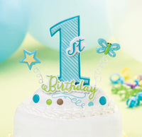 1st Birthday Caketop-Blue-Cake Toppers-Here Comes The Bling™