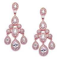 Regal Pave Encrusted CZ Chandelier Earrings (Available in Silver or Rose Gold)