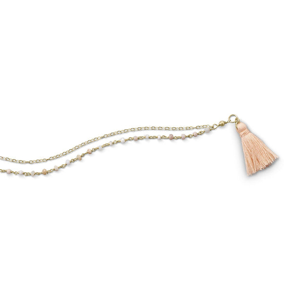 Double Strand Bracelet with Pink Opal and a Tassel