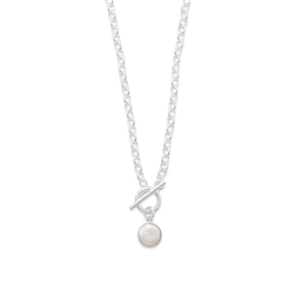Toggle Necklace with Cultured Freshwater Coin Pearl