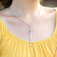 Mesh Knot Lariat Necklace