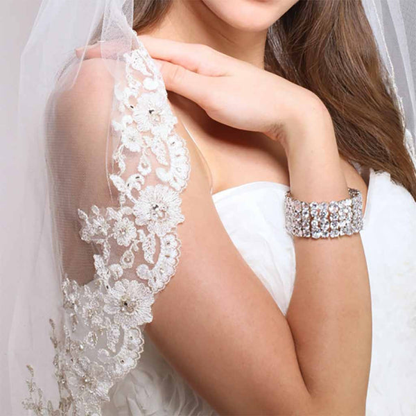 Mantilla Bridal  Veil with Crystals, Beads & Lace Edge