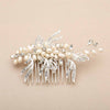 Freshwater Pearl and Crystal Bridal Hair Comb with Graceful Silver Leaves