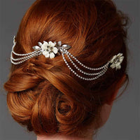 Silver Triple Combs Enamel Bridal Headpeice with Crystal Swags