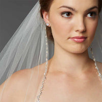 Glistening Beaded Edge Long Fingertip Wedding Veil