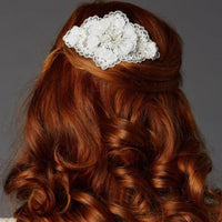 Ivory Crystal Lace Bridal Comb with Delicate Crepe Petals