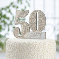50Th Anniversary Cake Pick-Cake Toppers-Here Comes The Bling™