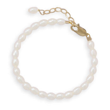 "5""+1"" 14/20 Gold Filled Cultured Freshwater Rice Pearl Bracelet-Girls-Jewelry-Here Comes The Bling™"