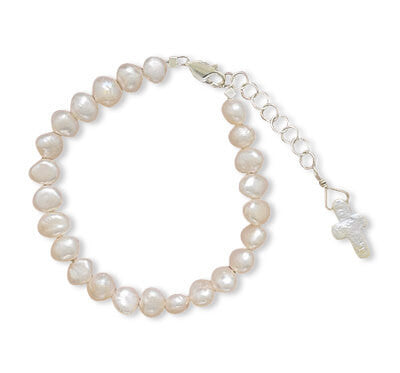"5""+1"" Extension Cultured Freshwater Pearl Bracelet with Pearl Cross-Girls-Jewelry-Here Comes The Bling™"