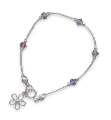 "5.5"" Bracelet with Multicolor Crystals and Flower Charm-Girls-Jewelry-Here Comes The Bling™"