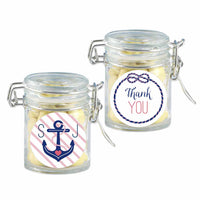 """Nautical Bridal Shower Collection"" Personalized Glass Favor Jars (Set of 24)"
