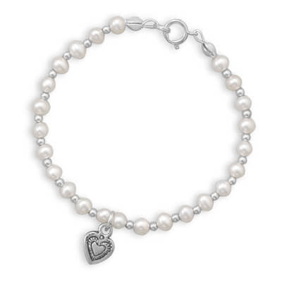 "6"" Cultured Freshwater Pearl and Silver Bead Bracelet with Oxidized Heart-Girls-Jewelry-Here Comes The Bling™"