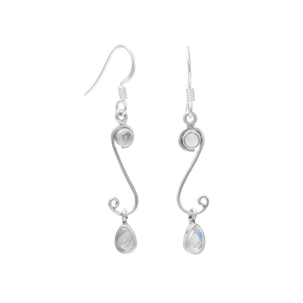 S Design Drop Earrings with Rainbow Moonstone