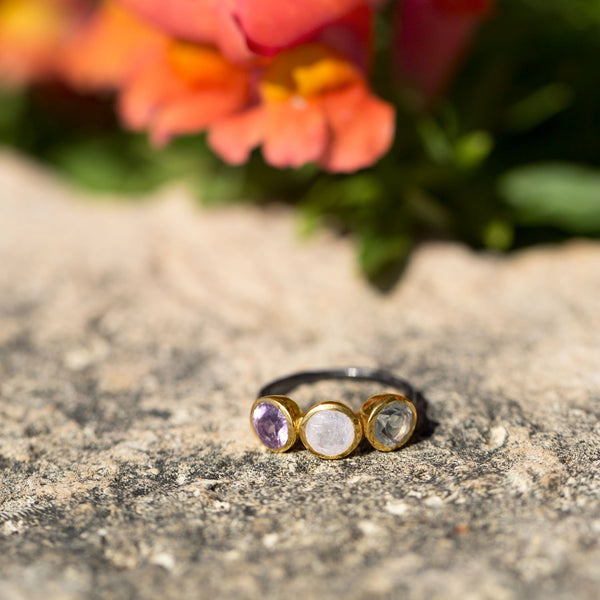 Two Tone Multistone Ring
