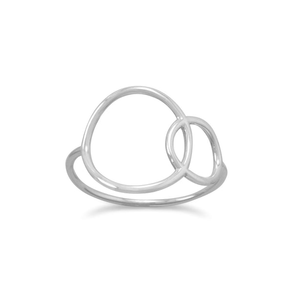 Rhodium Plated Open Circle Ring