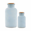 Frosted Sea Blue Bottle with Cork Stopper (Set of 2)