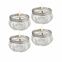 Vintage Clear Glass Tealight Cups (Set of 4)