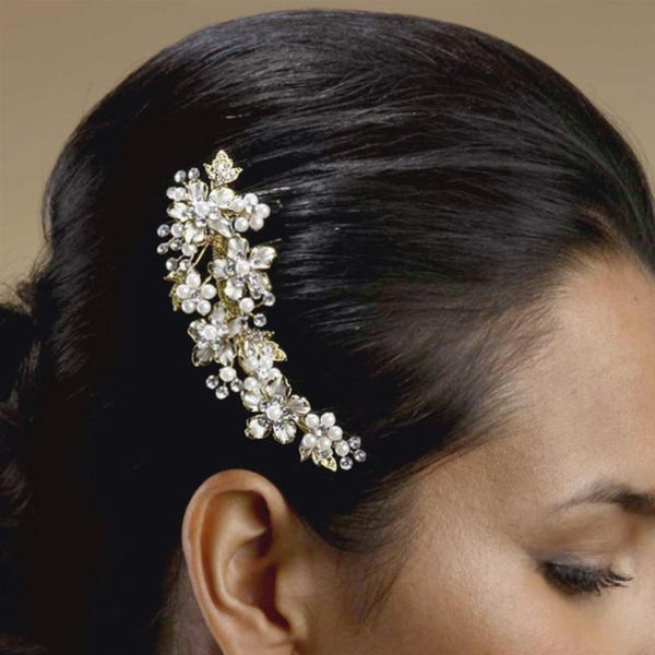 Brushed Gold Pearl and Cystal Bridal Comb-Combs-Here Comes The Bling™
