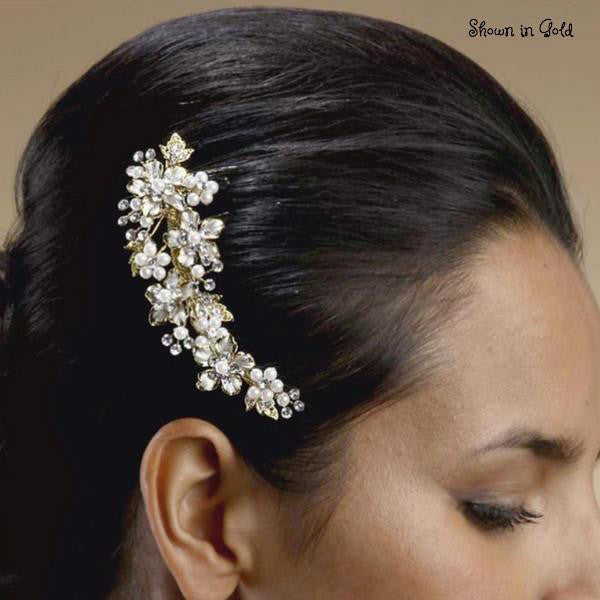 Freshwater Pearl and Crystal Bridal Hair Comb with Graceful Silver Leaves-Combs-Here Comes The Bling™