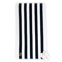 Navy Striped Terry Beach Towel with Anchor Monogram