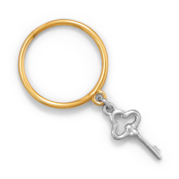 Two Tone Key Charm Ring