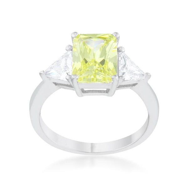 Radiant Cut Peridot Sapphire and CZ Ring