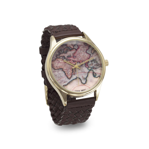 Map Design Brown Leather Fashion Watch