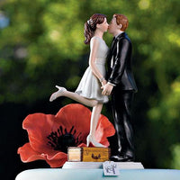 """A Kiss and We're Off!"" Wedding Cake Topper with Fair Skin (Select From 7 Hair Colors)-Cake Toppers-Here Comes The Bling™"