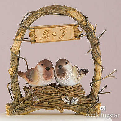 """A Love Nest"" - Love Birds in Archway Cake Topper-Cake Toppers-Here Comes The Bling™"