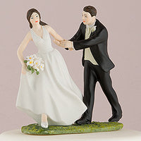"""A Race to the Altar"" Cake Topper ( Select From 7 Hair Colors )-Cake Toppers-Here Comes The Bling™"