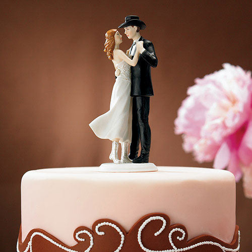 """A Sweet Western Embrace"" Cake Topper ( Select From 7 Hair Colors )-Cake Toppers-Here Comes The Bling™"