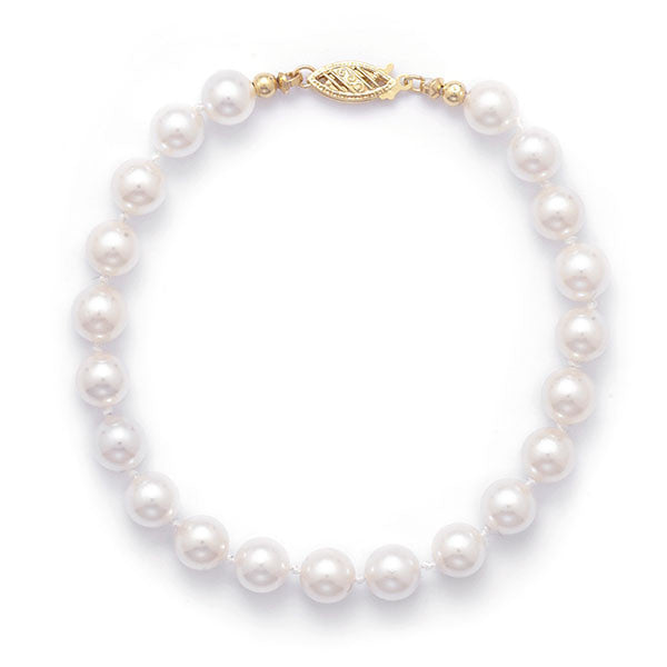 "Akoya - Grade AAA Cultured 6.5-7mm Pearl 8"" Bracelet-Bracelets-Here Comes The Bling™"